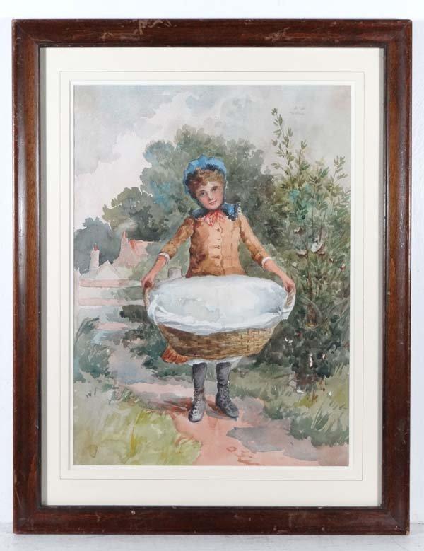 XIX English School Watercolour A young Victorian girl