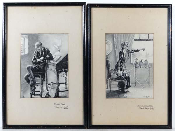 Eric Willis 1933 A pair of grisalle, pen and inks with