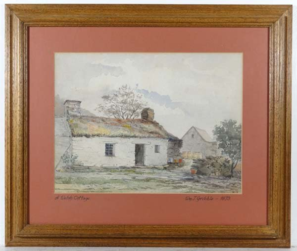 William J Gribble 1873 Watercolour ' A Welsh Cottage '