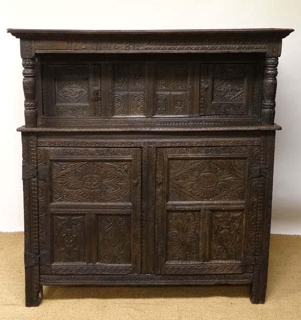 A 17thC Welsh oak Court Cupboard / Cwpwrdd Deuddarn