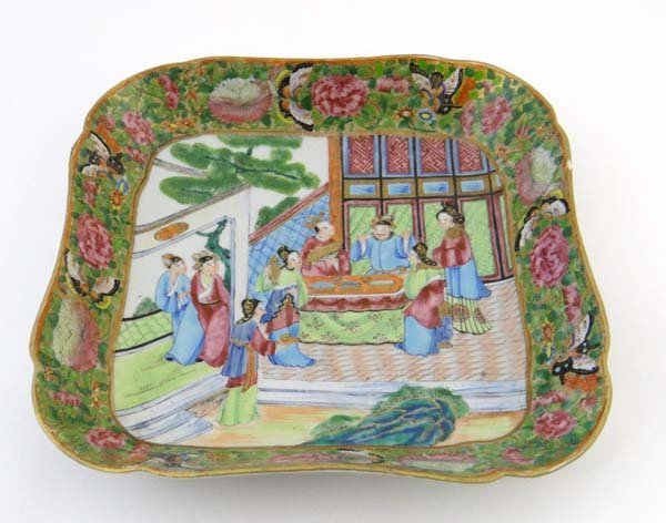 A square shaped Cantonese polychrome dish painted with
