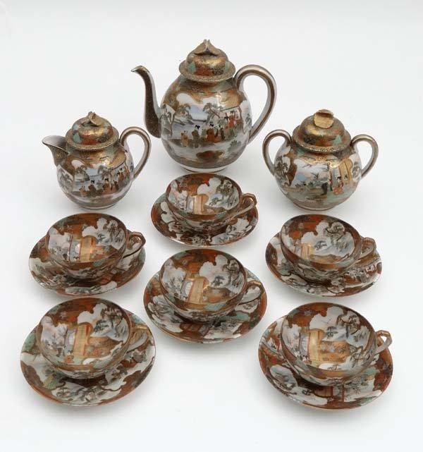 A set of Japanese Satsuma tea service comprising of
