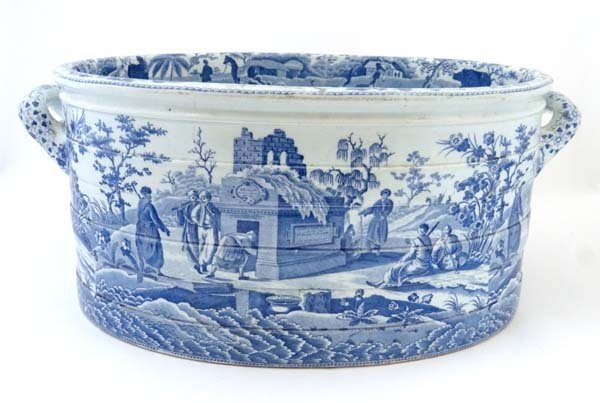 A rare 19thC Spode blue and white transfer printed oval