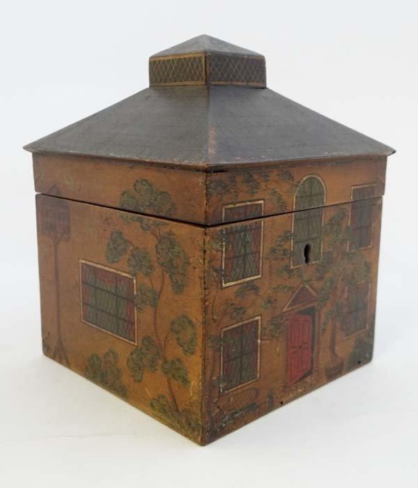 House caddy : a fine circa 1800 painted house Tea Caddy