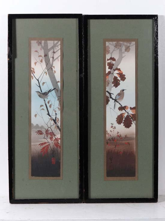 Japanese School c.1900 A pair of watercolours A jay in