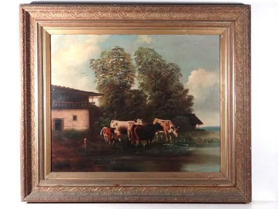 XIX German School Oil on canvas Cattle watering 22 x 26