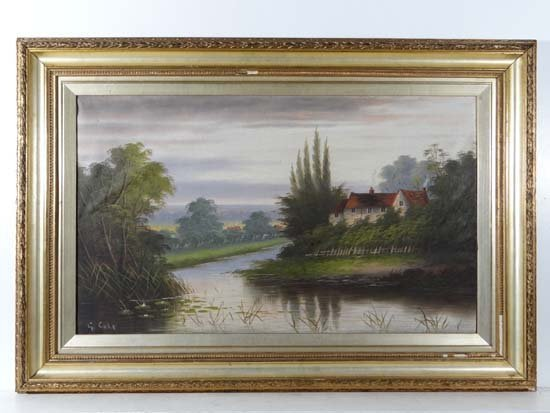 G. Cole (Early XX) Oil on canvas Cottages by a river 16