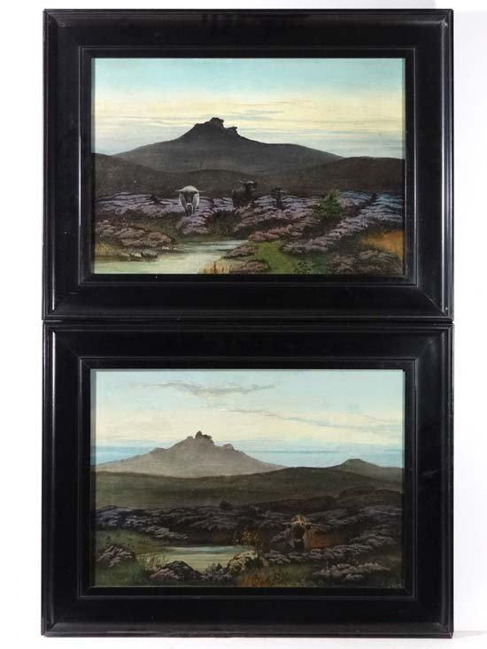 A E Barnes XXI-XX Oil on canvas, a pair Highland cattle