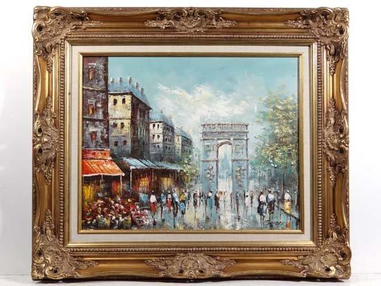 Garber XX French Oil on canvas Arc de Triomphe , Paris