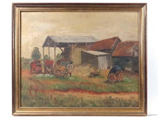 Late XIX English School Oil on canvas A farmyard 16 1/2