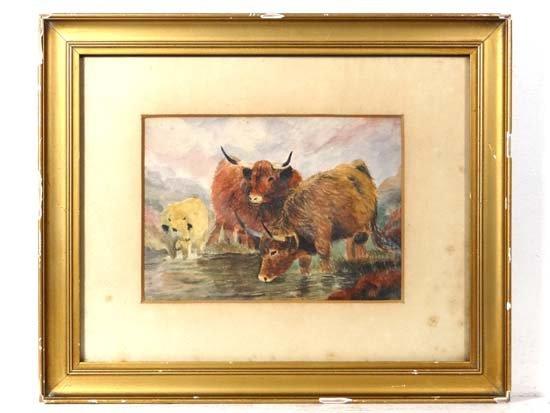 Scottish School c.1900 Watercolour Highland Cattle