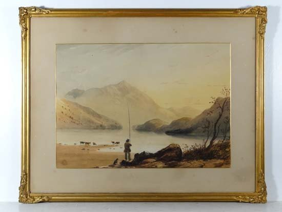 19thC School Watercolour Fisherman with dog besides a