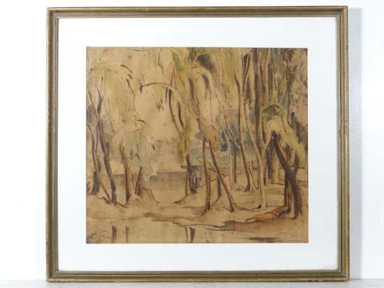 D J Avery Parys 1944 Watercolour Man standing besides a