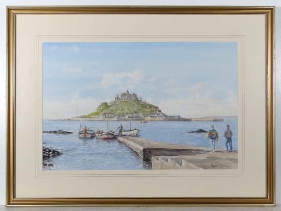 Robin Davidson XX Watercolour St. Michaels Mount ,