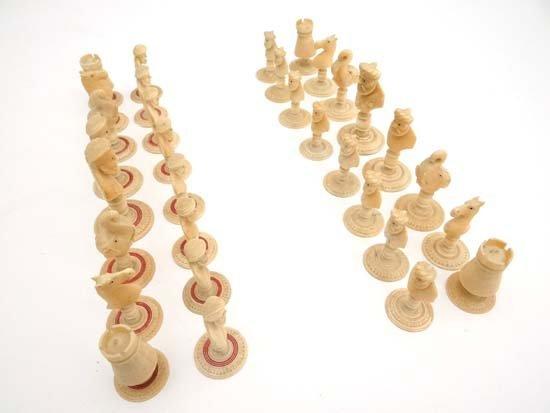 Sahib Chess Set : a late 19thC Indian Delhi ' Sikhs'