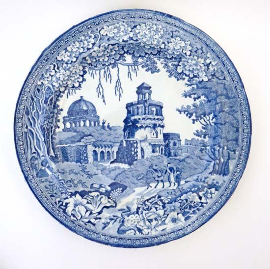An early 19thC blue ad white transfer printed plate by