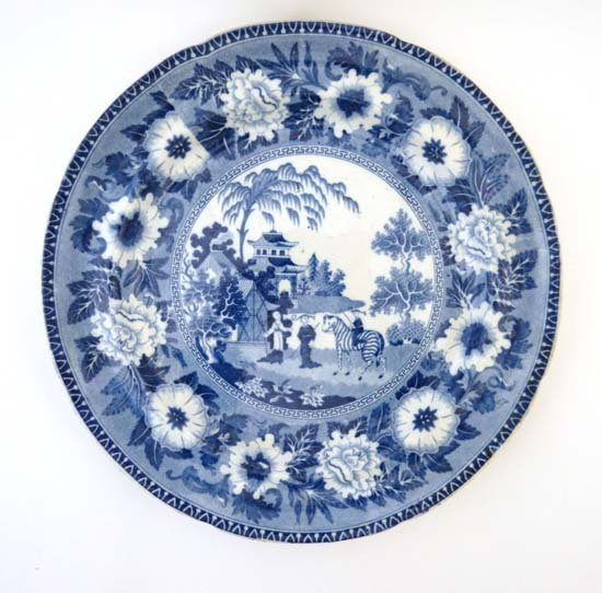 An early 19thC blue and white transfer printed plate by