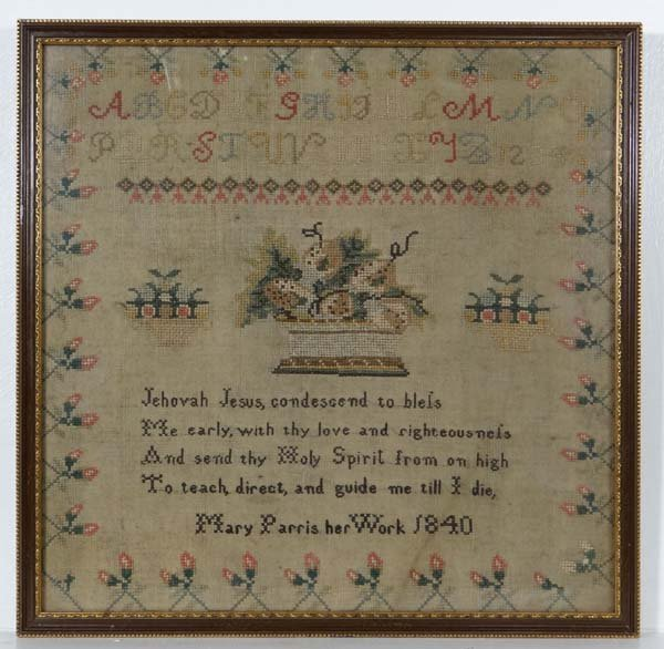Sampler : Mary Parris ...1840' , a framed linen and