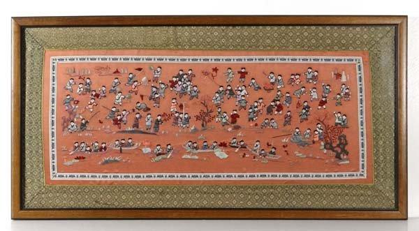 Chinese Needlework : a decorative cuff decorated in