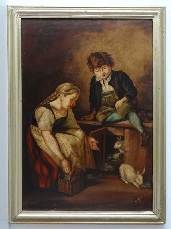Antonius early XX Oil on canvas Feeding the rabbits