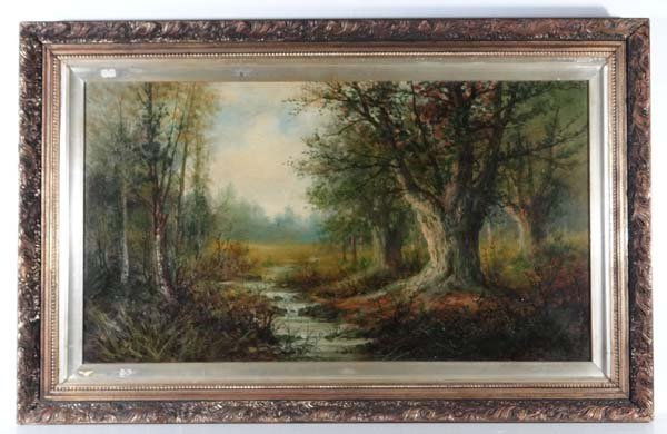 A Cole Early XX Oil on canvas Stream through the wood