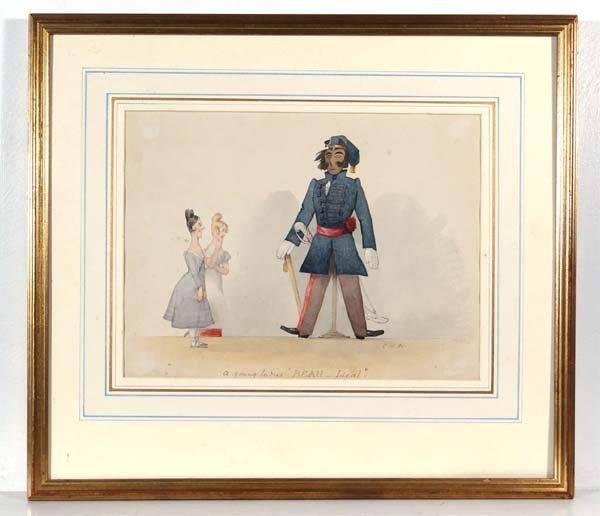 """Manner of Charles Doyle Watercolour """" A young Ladies '"""
