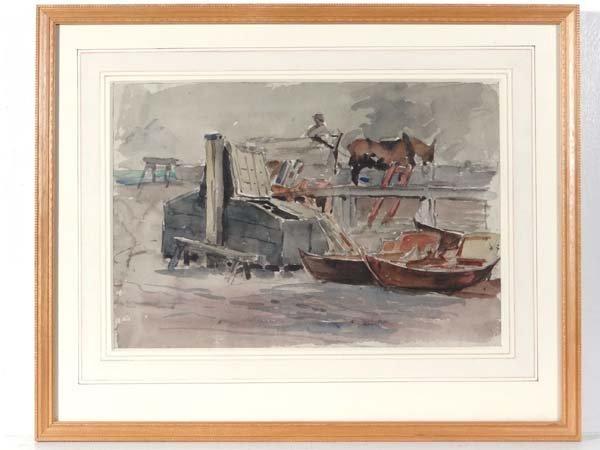 XIX Watercolour and pencil Continental scene of boats