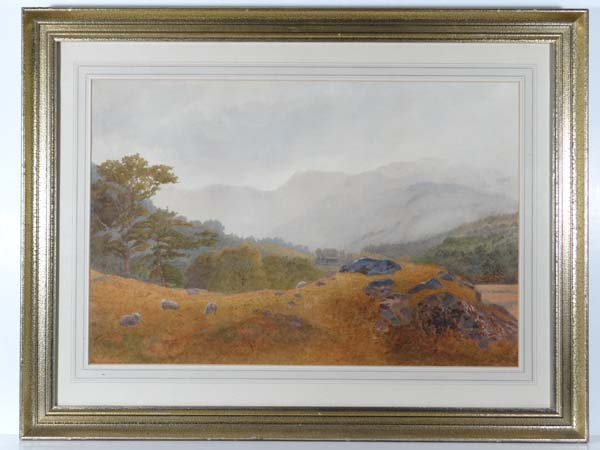 Roberts (XIX-XX) Watercolour Sheep grazing before