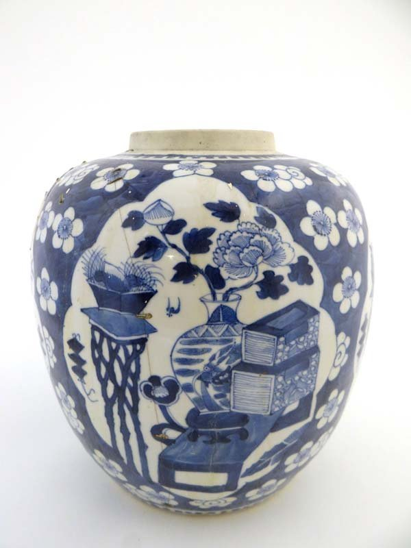 A large blue & white Oriental ginger jar, with four