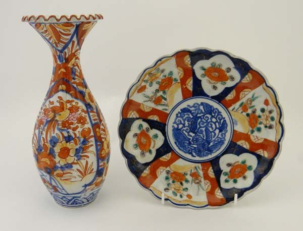 Items of Imari wares comprising a plate with lobed rim