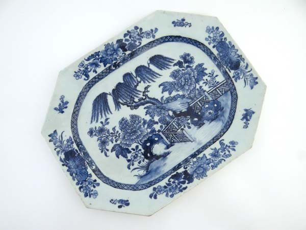 An 18thC Chinese blue and white porcelain octagonal
