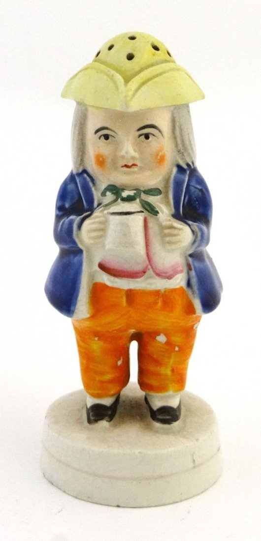 A Victorian Staffordshire novelty pepperette in the