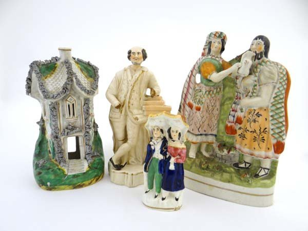 A collection Victorian Staffordshire figures comprising