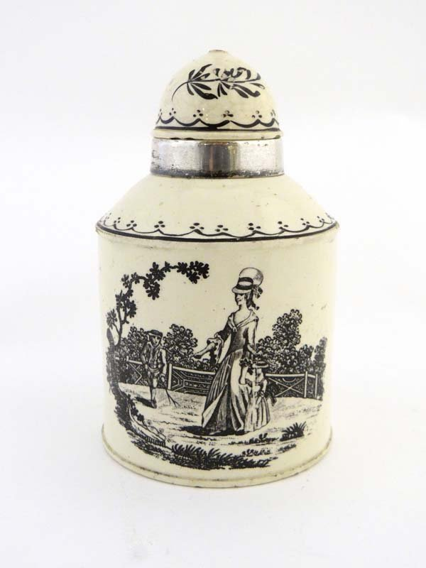 A late 18thC Leeds cream ware tea caddy, with domed