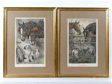 After N Drummond XIX A pair of hand coloured prints
