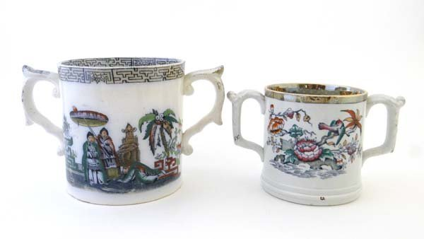 Two 19thC English loving cups ( varying sizes) one