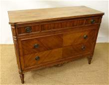 A 19thC French fruit wood commode  Chest  with canted