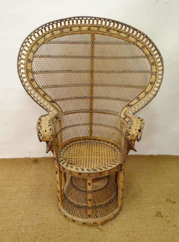 Retro a cane Fan back Indian Peacock chair