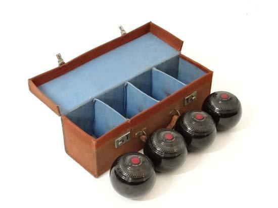 Lawn Bowls : a cased set of four Tyrolite (