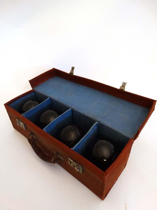 Lawn Bowls : a cased set of four Tyrolite ( - 3