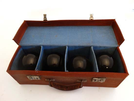 Lawn Bowls : a cased set of four Tyrolite ( - 4