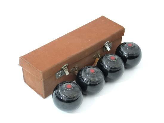 Lawn Bowls : a cased set of four Tyrolite ( - 6