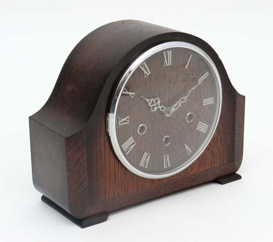 Smiths oak cased 3 train  Westminster Mantel clock : a