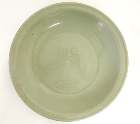 A large longquan celadon charger China , Ming Dynasty,