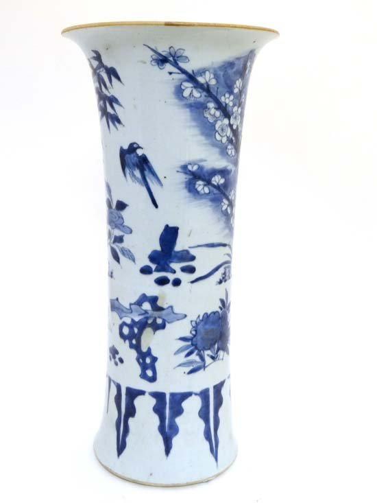 A transitional blue and white gu-form beaker vase China
