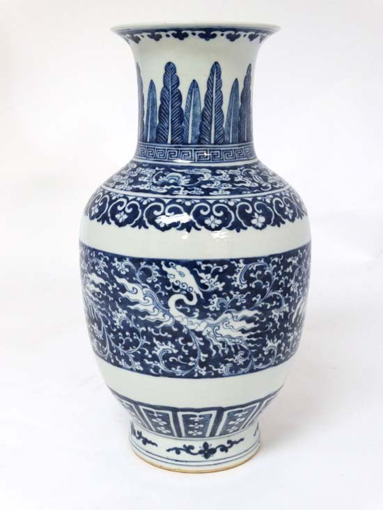 A blue and white baluster-form vase China , 18th