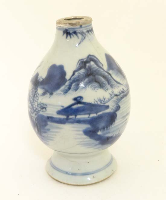 A provincial pear-shaped blue and white vase China ,