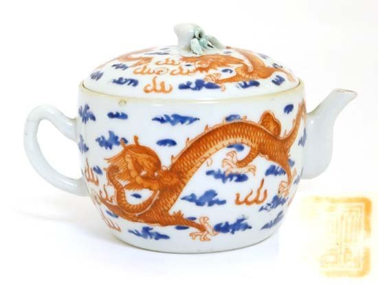 A teapot with cover China , Seal mark to base, 19th