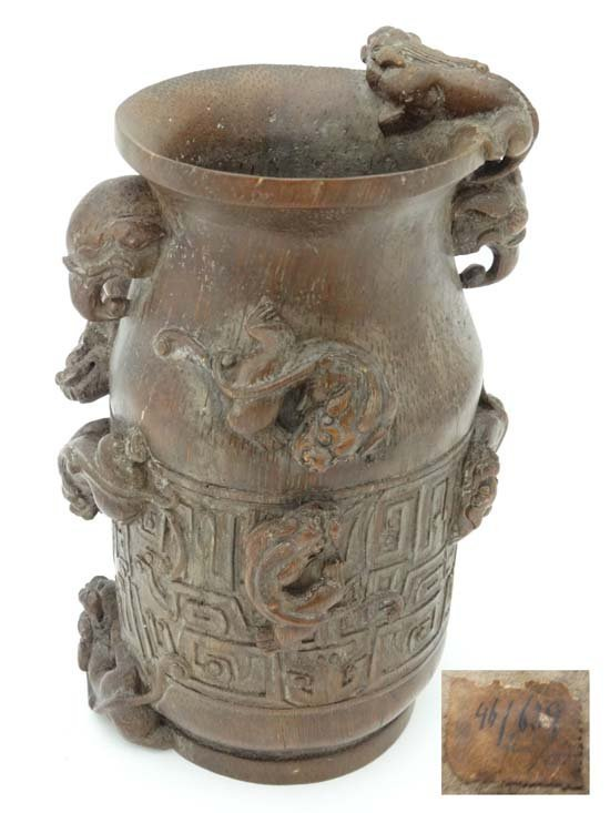 A carved bamboo baluster-shaped vase China , 19th