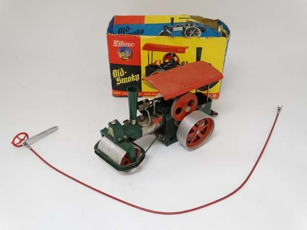A live steam Wilesco D36 '' Old Smokey '' steam roller.